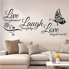 Amazon Com Live Laugh Love Wall Decal Art Vinyl Live Laugh Love Wall Decor Stickers Motivational Quotes For Bedroom Removable Wall Sign Mural Diy Home Decorations Decals Large A Kitchen Dining