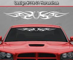 Design 116 01 Horseshoe Windshield Decal Window Sticker Banner Tribal Flame Car Ebay Window Stickers Skull Decal Design