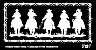 Wildside Auto Decas Five Cowboys Riding Horses Decal Barbed Wire Border Trailer Car Vinyl Graphics