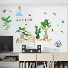 Custom Size Cute Green Plant Pots Shelf Wall Stickers Greenery Nature Leaf Decal Tropical Leaves Living Room Home Decor Butterfly Art Thefuns On Artfire