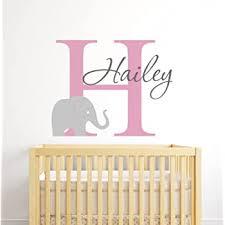 Amazon Com Custom Elephant Name Wall Decal For Girls Baby Girl Room Decor Nursery Wall Decals Elephant Wall Art Baby