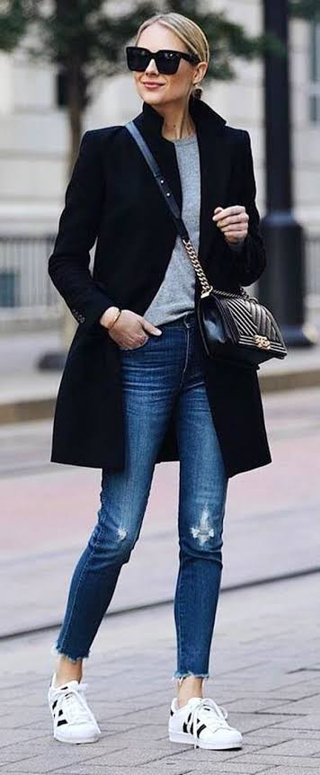 Black coat and jeans