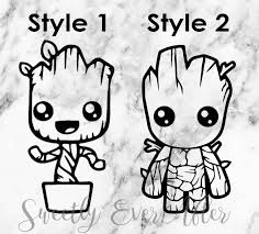 5 Groot Vinyl Decal Sticker Car Window Laptop Guardians Galaxy Marvel Baby Tree