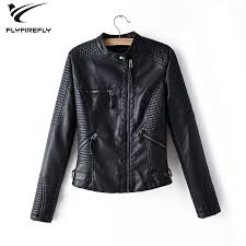 black leather jacket women zipper faux