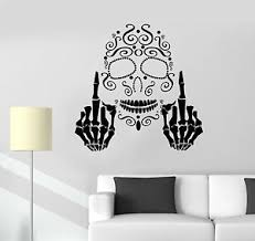 Vinyl Wall Decal Art Skull Middle Finger Gothic Style Stickers 1651ig Ebay