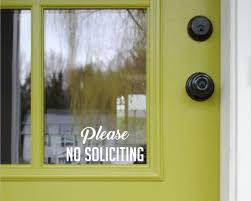 No Soliciting Decal Please No Soliciting Vinyl Decal No Etsy
