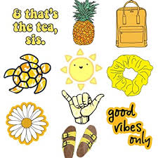 Amazon Com Cute Stickers Pack Vsco Vinyl Yellow Stickers For Laptop Water Bottles Hydro Flask Fashion Stickers For Teens Girls Perfect For Lugguage Car Skateboard Motorcycle Bicycle Computers Accessories
