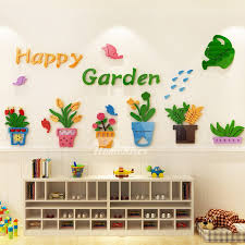 Vinyl Wall Decor Stickers 3d Acrylic For Kids Flower Kindergarten Cartoon Classroom Baby Room Self Adhesive Art Deco Colorful