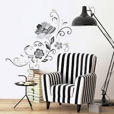 Black And White Flower Scroll Wall Decals Roommates Decor