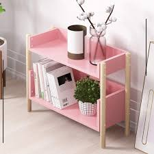 Amazon Com Zm M Beech Finish Kids Shelves Book Display Stand Organizer Bookshelf 2 Tier Wooden Bookcase Storage Shelving Unit For Living Room Bedroom Kitchen Color Pink Home Kitchen