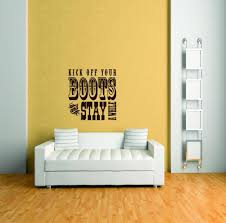 Custom Wall Decal Kick Off Your Boots And Stay Awhile Inspirational Life Quote Cowgirl Cowboy Vinyl Wall Sticker 20x20 Walmart Com Walmart Com