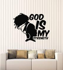 Amazon Com Vinyl Wall Decal Africa God Is My Strength Afro Girl African Woman Stickers Mural Large Decor G2229 Black Home Kitchen