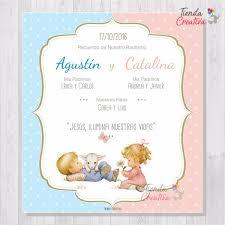 Estampitas Invitaciones Bautismo Baby Shower Gemelos X 35 315