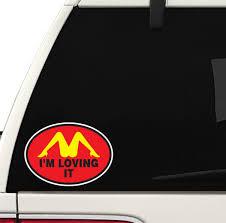 Amazon Com Im Loving It Decal Car Truck Window Bumper Sticker Mcds Dons The D Funny Joke Arts Crafts Sewing