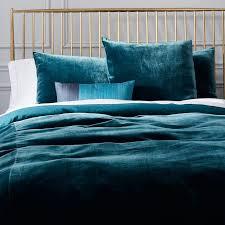 luxe blue teal velvet duvet cover shams