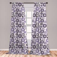 East Urban Home Ambesonne Purple And Black Curtains Scattered Round Big And Small With Mandala Inspired Design Window Treatments 2 Panel Set For Living Room Bedroom Decor 56 X 63 Violet Black White Wayfair
