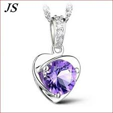 cute white purple heart necklace small