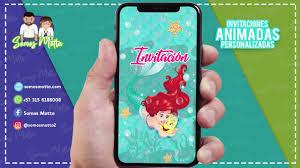 Tarjeta De Invitacion Digital Animada De La Sirenita Ariel Bajo El