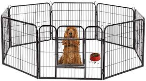 Zfh Heavy Duty Pet Playpen Dog Exercise Cat Fence Foldable Design Rust Proof Metal Material And Sturdy Attaches Easily With No Tools Travel Camping Amazon Co Uk Kitchen Home