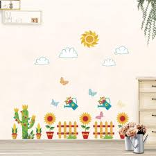 Sunflower Flower Pot Removable Wall Stickers For Kids Room Nursery Wall Decor Art Decals Cactus Fence Mural Wallpaper Amazon Co Uk Diy Tools