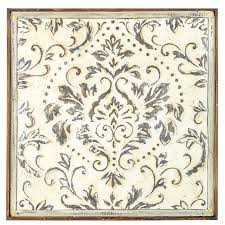 distressed cream damask metal wall
