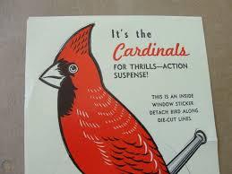 Vintage St Louis Cardinals Unused Die Cut Window Sticker For Thrills Action 1733695190