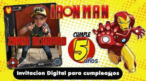 Iron Man Invitacion Digital Cumpleanos Dinamita Producciones