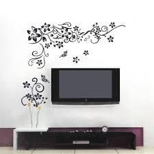 Pvc Wall Sticker Black Flower Vine Vinyl Art Decal Living Room Bedroom Decor Removable Home Wall Decal Wall Decal Walmart Com Walmart Com