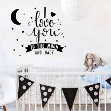 Wall Stickers For Kids Rooms Quotes I Love You To The Moon And Back Wall Decal Kid Nursery Room Pattern Baby Bedroom Decor Sy295 Sticker For Kids Room Wall Stickers For Kidswall Sticker