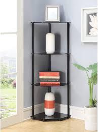 com 4 tier corner shelf black