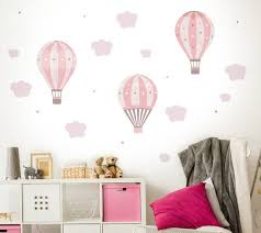 Air Balloons Wall Decal Pink Stars Clouds Baby Sticker Hot Etsy