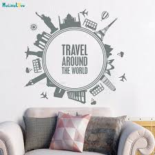 Quotes Wall Decals Travel Around The World Decal Adventure Vinyl Sticker Bedroom Decoration Adventure Sticker Home Murals Yt1161 Wall Stickers Aliexpress