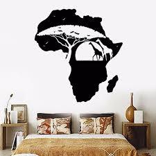 Vinyl Wall Decal Removable Africa Continent Landscape Map Wall Sticker Home Decor Nature Plants Giraffes Wall Art Mural Ay611 Wall Stickers Aliexpress