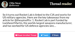 "Thread by @oilieneas: ""So it turns out Rocket Lab is linked to the CIA and  works for US military agencies. Here are the key takeaways from my article  for @thespino […]"""