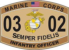 Amazon Com Infantry Officer Marine Corps Mos 0302 Usmc Us Marine Corps Military Or 4 5 Patch Window Car Bumper Sticker Vinyl Decal 3 8 Automotive