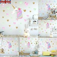 Unicorn Hearts Stars Wall Art Stickers Girls Bedroom Decals 64 Hearts Stars St