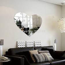 Large Unique Wall Mirror Heart Shaped Puzzle Pieces Modern Bedroom Accessories Home Decor Room Wall Decor