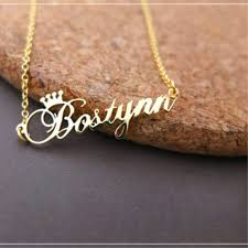 custom crown name necklace personalized