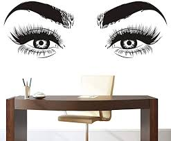 Amazon Com Lashes Eyes Eyebrows Vinyl Wall Sticker Beatuy Salon Bedroom Removeable Decal Eyelashes Living Room Home Decoration Art Poster Zx398 57x155cm Black Home Kitchen