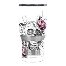 Skin Decal For Rtic 20 Oz Tumbler Cup 5 Piece Kit Roses In Skull Itsaskin Com