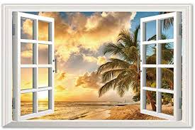 Amazon Com Home Find Removable Fake Window Scene Faux Window Wall Decals Window View Of Sea Beach Coconut Palm At Sunset Wall Stickers Window Glass Frame Living Room Bedroom 34 Inches X 22