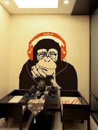 Banksy Wall Decal Monkey With Headphones Banksy Chimp Head Listening To Music Earphones Dj Vinyl Decal Sticker Street Art Sticker Dk329 In 2020 Sticker Street Art Sticker Art Monkey Art