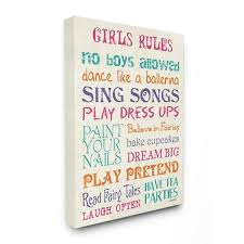 The Kids Room By Stupell 16 In X 20 In Pink Teal Orange And Purple Girls Rules By Debbie Dewitt Printed Canvas Wall Art Brp 2212 Cn 16x20 The Home Depot