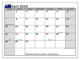 april 2019 calendar new zealand