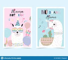 Blue Pink Hand Drawn Cute Card With Llama Glasses Cactus In Sum Stock Vector Illustration Of Congratulation Birthday 125748928