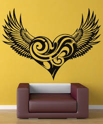 Vinyl Decal Swirly Heart Wings Christian Angel Wings Religion Christianity Living Room Bedroom Home Decor Wall Decal 2cb4 Wallcorners Art Canvas