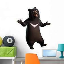 Amazon Com Wallmonkeys Dancing Black Bear Wall Decal Peel And Stick Graphic 36 In H X 30 In W Wm350492 Home Kitchen