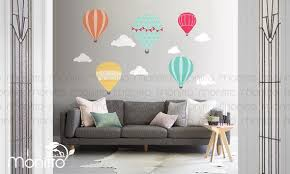 Hot Air Balloon Parade In The Clouds Wall Decal Study Room Etsy Baby Room Interior Design Cloud Wall Decal Rome Art Print