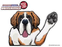 Saint Bernard Waving Dog Wipertag Decal For Rear Windshield Wiper Blade Wipertags