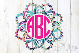 Lilly Flower Mandala Monogram Decal Sew Southern Designs